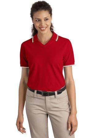 CLOSEOUT Port Authority® Ladies Cool Mesh™  Polo with Tipping Stripe Trim.  L431
