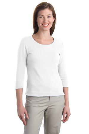 Port Authority® Ladies Modern Stretch Cotton 3/4-Sleeve Scoop Neck Shirt. L517