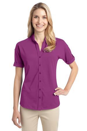 Port Authority® Ladies Stretch Pique Button-Front Shirt. L556