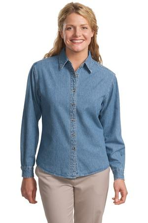 CLOSEOUT Port Authority® Ladies Long Sleeve Denim Shirt.  L600D