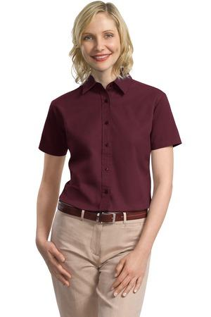 CLOSEOUT Port Authority® Ladies Short Sleeve Value Cotton Twill Shirt. L635
