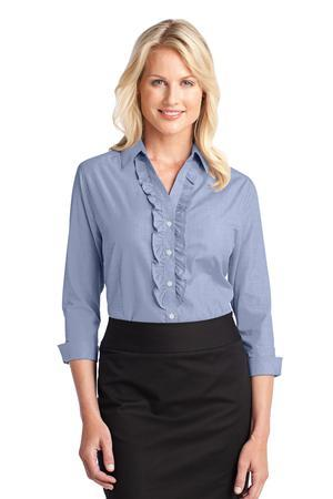 DISCONTINUED Port Authority® Ladies Crosshatch Ruffle Easy Care Shirt. L644