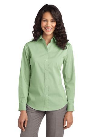 Port Authority® Ladies Fine Stripe Stretch Poplin Shirt. L647
