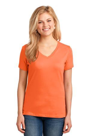 Port & Company® Ladies 5.4-oz 100% Cotton V-Neck T-Shirt. LPC54V