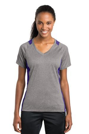 Sport-Tek® Ladies Heather Colorblock Contender™ V-Neck Tee. LST361
