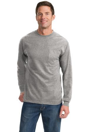 Port & Company® Tall Long Sleeve Essential T-Shirt with Pocket. PC61LSPT