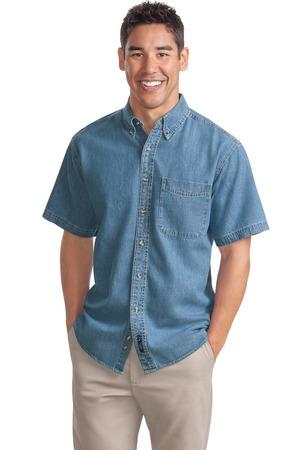 CLOSEOUT Port Authority® Short Sleeve Denim Shirt. S500