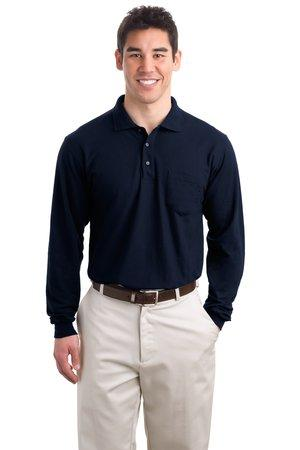 Port Authority® Tall Silk Touch™ Long Sleeve Polo with Pocket. TLK500LSP