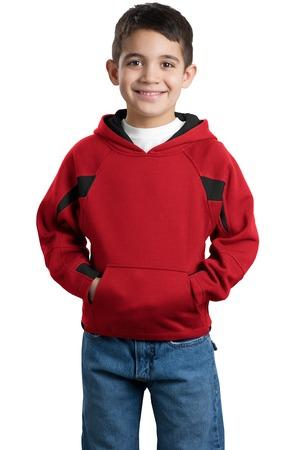 DISCONTINUED Sport-Tek® Youth Color-Spliced Pullover Hooded Sweatshirt. Y266