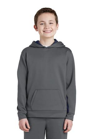 Sport-Tek® Youth Sport-Wick® Fleece Colorblock Hooded Pullover.  YST235